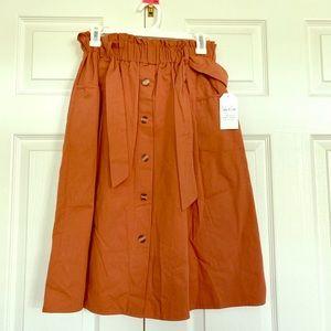 Burnt Orange midi skirt